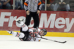 04/30/11--Portland's Sven Bartschi traps the puck in the third period. The Winterhawks' defeated the Chiefs 3-2 in Game 5 of the Western Conference Championship at the Rose Garden...Photo by Jaime Valdez..........................................