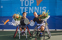 Amstelveen, Netherlands, 22 Augustus, 2020, National Tennis Center, NTC, NKR, National  Wheelchair Tennis Championships, Man's doubles final  final :  Carlos Anker (NED) and Tom Egberink (NED) (R)  with the trophy<br /> Photo: Henk Koster/tennisimages.com