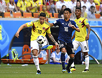 (180619) -- SARANSK, June 19, 2018 -- James Rodriguez (L) of Colombia competes during a Group H match between Colombia and Japan at the 2018 FIFA World Cup WM Weltmeisterschaft Fussball in Saransk, Russia, June 19, 2018. Japan won 2-1. ) (SP)RUSSIA-SARANSK-2018 WORLD CUP-GROUP H-COLOMBIA VS JAPAN HexCanling PUBLICATIONxNOTxINxCHN  <br /> Saransk 19-06-2018 Football FIFA World Cup Russia  2018 <br /> Colombia - Japan / Colombia - Giappone <br /> Foto Imago/Insidefoto