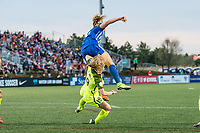 Boston, MA - Saturday April 29, 2017: Rosie White and Kristen McNabb collide during a regular season National Women's Soccer League (NWSL) match between the Boston Breakers and Seattle Reign FC at Jordan Field.