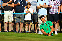 Henrik Stenson chips out of the bunker on the 5th green during the BMW PGA Golf Championship at Wentworth Golf Course, Wentworth Drive, Virginia Water, England on 26 May 2017. Photo by Steve McCarthy/PRiME Media Images.