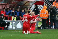 O's Josh Wright scores pen and celebrates with capt josh coulson during Leyton Orient vs Carlisle United, Sky Bet EFL League 2 Football at The Breyer Group Stadium on 26th October 2019
