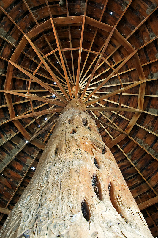 Round Barn roof interior. Near Diamond, Oregon
