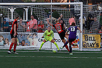 Rochester, NY - Saturday June 11, 2016: Orlando Pride forward Alex Morgan (13), Western New York Flash midfielder Abigail Dahlkemper (13), Western New York Flash goalkeeper Britt Eckerstrom (28) during a regular season National Women's Soccer League (NWSL) match between the Western New York Flash and the Orlando Pride at Rochester Rhinos Stadium.