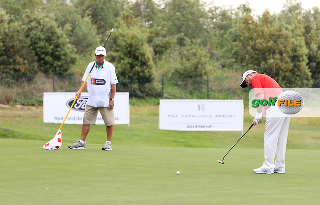 Damien McGrane (IRL) and his caddy Pete Futcher on the 13th green during Round 1 of the Open de Espana  in Club de Golf el Prat, Barcelona on Thursday 14th May 2015.<br /> Picture:  Thos Caffrey / www.golffile.ie