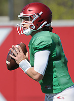 NWA Democrat-Gazette/ANDY SHUPE<br /> Arkansas quarterback Austin Allen rolls out to pass Saturday, April 1, 2017, during practice at the university practice field in Fayetteville. Visit nwadg.com/photos to see more photographs from practice.