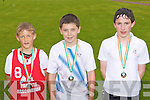 Winning medals in the Boys 600m at the County National Schools athletics finals in Castleisland On Saturday was l-r: Shane McLoughlin Castleisland NS, Jack Daly Scoil Mhuire Caherciveen and Sean O'Brien Loreto NS Killarney