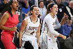 SIOUX FALLS, SD: MARCH 6: The IUPUI bench celebrates after scoring against South Dakota State during the Summit League Basketball Championship on March 6, 2017 at the Denny Sanford Premier Center in Sioux Falls, SD. (Photo by Dave Eggen/Inertia)