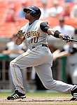 7 June 2007: Pittsburgh Pirates outfielder Rajai Davis hits a triple against the Washington Nationals at RFK Stadium in Washington, DC. The Pirates defeated the Nationals 3-2 in the third game of their 3-game series...Mandatory Credit: Ed Wolfstein Photo