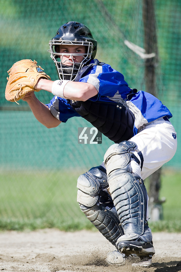 30 April 2008: Guillaume Lafeuille of France takes catcher practice during the first of seven 2008 MLB European Academy Try-out Sessions throughout Europe, at Stade Kandy Nelson Ball Park, in Toulouse, France. Try-out sessions are run by members of the Major League Baseball Scouting Bureau with assistance from MLBI staff.