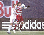 15 April 2007: Dallas's Carlos Ruiz (20) traps the ball on his chest in front of the New York defender. The New York Red Bulls defeated FC Dallas 3-0 at Giants Stadium in East Rutherford, New Jersey in an MLS Regular Season game.
