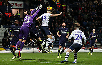 Preston North End's Jordan Storey under pressure from Derby County's goalkeeper Kelle Roos  <br /> <br /> Photographer Andrew Kearns/CameraSport<br /> <br /> The EFL Sky Bet Championship - Preston North End v Derby County - Friday 1st February 2019 - Deepdale Stadium - Preston<br /> <br /> World Copyright © 2019 CameraSport. All rights reserved. 43 Linden Ave. Countesthorpe. Leicester. England. LE8 5PG - Tel: +44 (0) 116 277 4147 - admin@camerasport.com - www.camerasport.com