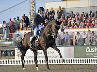 16.05.2014.  Windsor Horse Show London, Denise Hallion (RSA) riding Wervelwind  during the CD13* FEI Grand Prix Freestyle to music