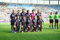 25.07.2012 Coventry, England. Japanese team picture at the Olympic Football Women's Preliminary game between Japan and Canada from the City of Coventry Stadium