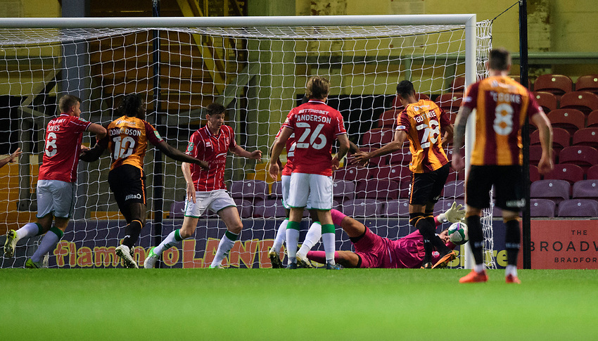 Lincoln City's Alex Palmer makes a save<br /> <br /> Photographer Chris Vaughan/CameraSport<br /> <br /> Carabao Cup Second Round Northern Section - Bradford City v Lincoln City - Tuesday 15th September 2020 - Valley Parade - Bradford<br />  <br /> World Copyright © 2020 CameraSport. All rights reserved. 43 Linden Ave. Countesthorpe. Leicester. England. LE8 5PG - Tel: +44 (0) 116 277 4147 - admin@camerasport.com - www.camerasport.com