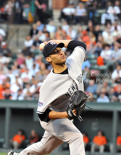 Baltimore, MD - May 28, 2008 -- New York Yankees pitcher Andy Pettitte (46) pitches against the Baltimore Orioles at Oriole Park at Camden Yards in Baltimore, MD on Wednesday , May 28, 2008..Credit: Ron Sachs / CNP.(RESTRICTION: NO New York or New Jersey Newspapers or newspapers within a 75 mile radius of New York City)