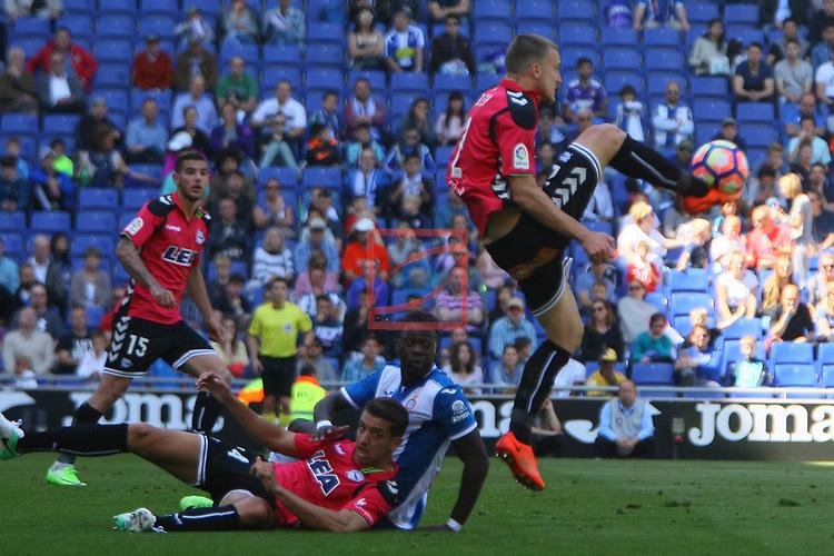League Santander 2016/2017. Game: 31.<br /> RCD Espanyol vs Deportivo Alaves: 1-0.<br /> Zou Feddal, Felipe Caicedo &amp; Rodrigo Ely.