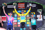 Race leader Yellow Jersey Jakob Fuglsang (DEN) Astana Pro Team wins the overall general classification with Tejay Van Garderen (USA) EF Education First 2nd and Emanuel Buchmann (GER) Bora-Hansgrohe in 3rd at the end of Stage 8 of the Criterium du Dauphine 2019, running 113.5km from Cluses to Champery, Switzerland. 16th June 2019.<br /> Picture: Colin Flockton | Cyclefile<br /> All photos usage must carry mandatory copyright credit (© Cyclefile | Colin Flockton)