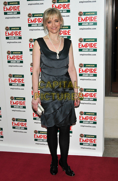 ANNE MARIE DUFF .Arrivals - Jameson Empire Awards 2009 at the Grosvenor House Hotel, London, England, UK, March 29th 2009..film magazine full length ann grey gray tiered layered dress black tights shoes clutch bag patent .CAP/PL.©Phil Loftus/Capital Pictures