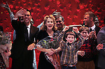 James Gray, Erin Dilly, Dan Lauria, Johnny Rabe, Justin Paul & Company during the Broadway Opening Night Performance Curtain Call for 'A Christmas Story - The Musical'  at the Lunt Fontanne Theatre in New York City on 11/19/2012.