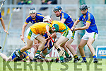 Maurice O'Connor Kilmoyley in action against Declan McCarthy Lixnaw in the Kerry County Senior Hurling championship Final at Austin Stack Park on Sunday.