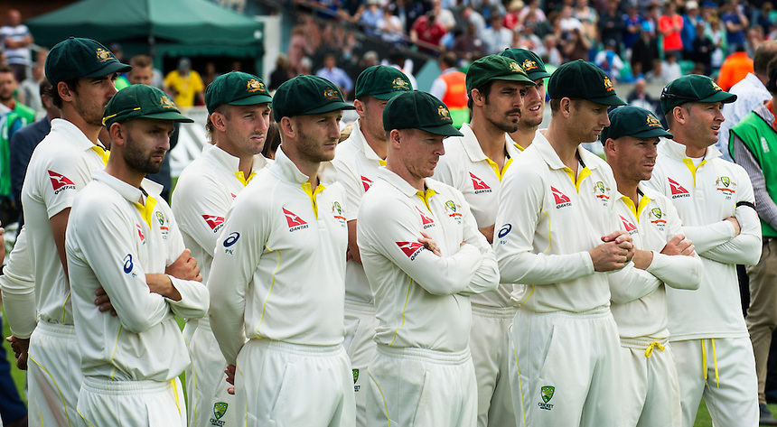 The defeated Australian side at the presentations<br /> <br /> Photographer Ashley Western/CameraSport<br /> <br /> International Cricket - Investec Ashes Test Series 2015 - Fifth Test - England v Australia - Day 4 - Sunday 23rd August 2015 - Kennington Oval - London<br /> <br /> &copy; CameraSport - 43 Linden Ave. Countesthorpe. Leicester. England. LE8 5PG - Tel: +44 (0) 116 277 4147 - admin@camerasport.com - www.camerasport.com