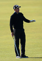 Paul Dunne of Ireland gestures during Round 2 of the 2015 Alfred Dunhill Links Championship at the Old Course, St Andrews, in Fife, Scotland on 2/10/15.<br /> Picture: Richard Martin-Roberts | Golffile