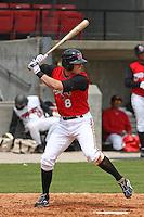 Zach Cozart of the Carolina Mudcats batting versus the Huntsville Stars on April 22, 2009 at Five County Stadium in Zebulon, NC