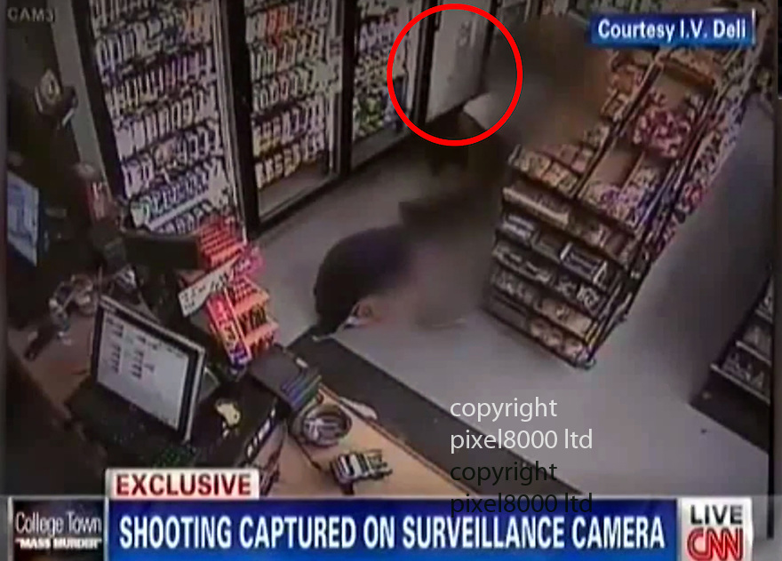 Pic shows: CNN obtained CCTV from I V Deli where shots   fired killed Chris Martinez.<br /> <br /> Circled is fridge door glass shattered by bullets<br /> <br /> Shots were apparently fired by  Elliot Rodger  - man allegedly involved in drive-by killings in Santa Barbara.<br /> <br /> <br /> A gunman went on a drive-by shooting rampage in a Santa Barbara student enclave and at least seven people were killed, including the attacker, authorities said.<br /> Investigators believe a 22-year-old named Elliot Rodger driving a black BMW acted alone in the shootings around 9:30pm Friday night in Isla Vista near the University of California, Santa Barbara.<br /> Santa Barbara County Sheriff Bill Brown confirmed at a news conference early Saturday that that seven people were killed, including the gunman, and seven wounded.<br /> Rodger was the son of Peter Rodger, assistant director of the Hollywood film franchise The Hunger Games. An attorney for Peter Rodger has confirmed to KCAL that Elliot Rodger was 'involved' in the shooting.<br /> <br /> <br /> <br /> <br /> <br /> <br /> <br /> Picture by Pixel8000 07917221968