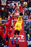 Washington, DC - August 17, 2018: Los Angeles Sparks forward Nneka Ogwumike (30) goes up for a lay up against Washington Mystics forward LaToya Sanders (30) during game between the Washington Mystics and Los Angeles Sparks at the Capital One Arena in Washington, DC. (Photo by Phil Peters/Media Images International)