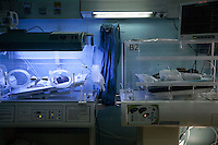 June 11, 2015 - Bekaa Valley, Lebanon: A new born Syrian baby (left) lays inside an incubator at Rahme hospital in Taanayel city in east of Lebanon. The baby as many like him with Syrian roots was born stateless after their parents fled years ago from their hometowns in Syria when opposition armed groups started battling against the government of President Bashar Al-Assad. (Photo/Narciso Contreras)