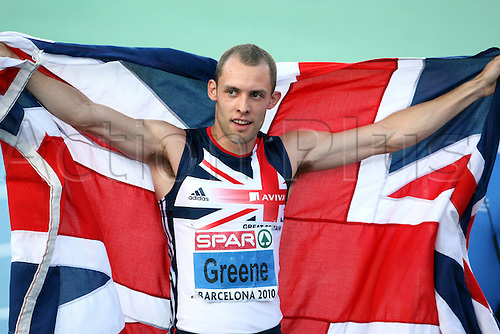 July 31st 2010, European Athletics Championships, Barcelona, Spain. 400m Hurdle's. Picture shows the cheering from David Greene GBR