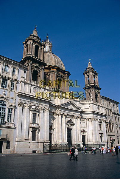 Piazza Navona, and the Church of Saint Agnese in Agone, Rome, Italy