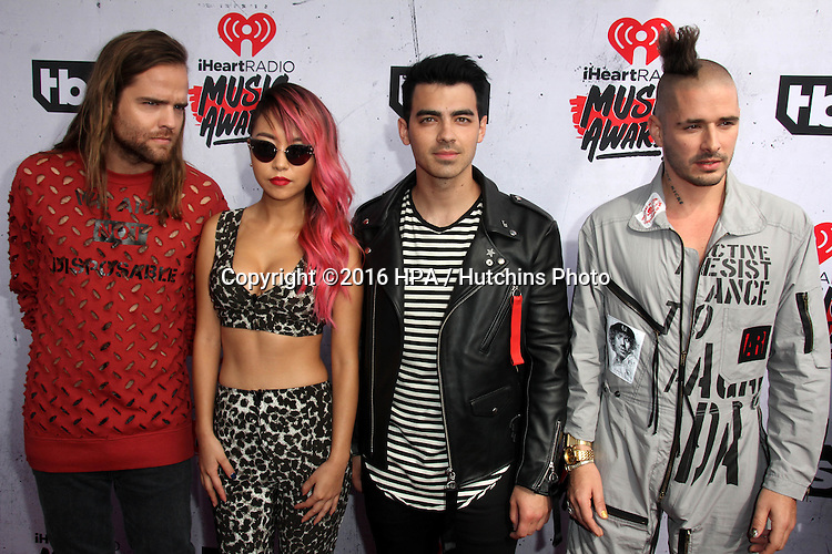 LOS ANGELES - APR 3:  DNCE at the iHeart Radio Music Awards 2016 Arrivals at the The Forum on April 3, 2016 in Inglewood, CA