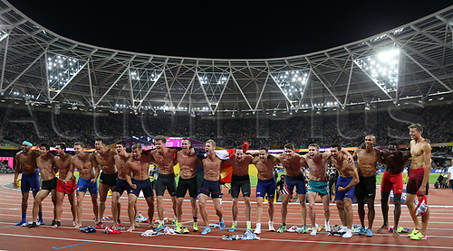 August 12th 2017, London Stadium, East London, England; IAAF World Championships, Day 9; All competing athletes of the decathlon men's final celebration run shirtless towards photographers and the crowd after the final