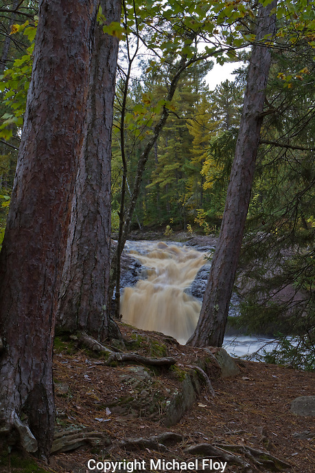 Amnicon Falls Upper Falls Through Trees.