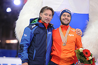 "SHORT TRACK: MOSCOW: Speed Skating Centre ""Krylatskoe"", 15-03-2015, ISU World Short Track Speed Skating Championships 2015, Jeroen Otter (coach NED), World Champion Sjinkie KNEGT (NED), ©photo Martin de Jong"