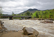 East Branch of the Pemigewasset River in Lincoln, New Hampshire USA near the entrance to Loon Mountain in May 2014 after heavy rains.