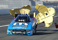 Feb 8, 2019; Pomona, CA, USA; NHRA funny car driver Matt Hagan during qualifying for the Winternationals at Auto Club Raceway at Pomona. Mandatory Credit: Mark J. Rebilas-USA TODAY Sports