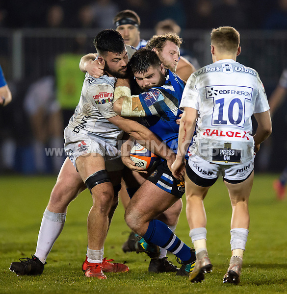 Will Vaughan of Bath United is tackled in possession. Premiership Rugby Shield match, between Bath United and Gloucester United on April 8, 2019 at the Recreation Ground in Bath, England. Photo by: Patrick Khachfe / Onside Images