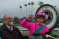 ARCADIA, CA  MARCH 10:  Jockey Drayden Van Dyke holds up 4 fingers after winning the first four races in the card on March 10, 2018 at Santa Anita Park in Arcadia, CA. (Photo by Casey Phillips/ Eclipse Sportswire/ Getty Images)