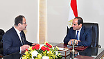 Egyptian President Abdel Fattah al-Sisi meets with Minister of Interior Magdi Abdel Ghaffar, in Cairo, Egypt, on July 29, 2017. Photo by Egyptian President Office