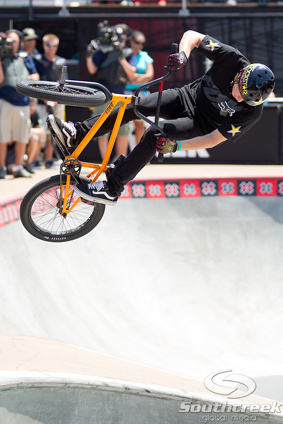 Chase Hawk competes in the BMX Freestyle Park Final at Event Deck L.A. Live in Los Angeles, California. Hawk placed 4th in the event.