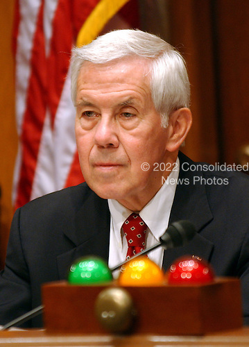 United States Senator Richard Lugar (Republican of Indiana), Chairman, presides at a hearing of the United States Senate Foreign Relations Committee to review the United Nations Oil-for-Food Program in Washington, D.C. on April 7, 2004..Credit: Ron Sachs / CNP.