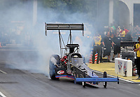 May 10, 2013; Commerce, GA, USA: NHRA top fuel dragster driver Pat Dakin during qualifying for the Southern Nationals at Atlanta Dragway. Mandatory Credit: Mark J. Rebilas-