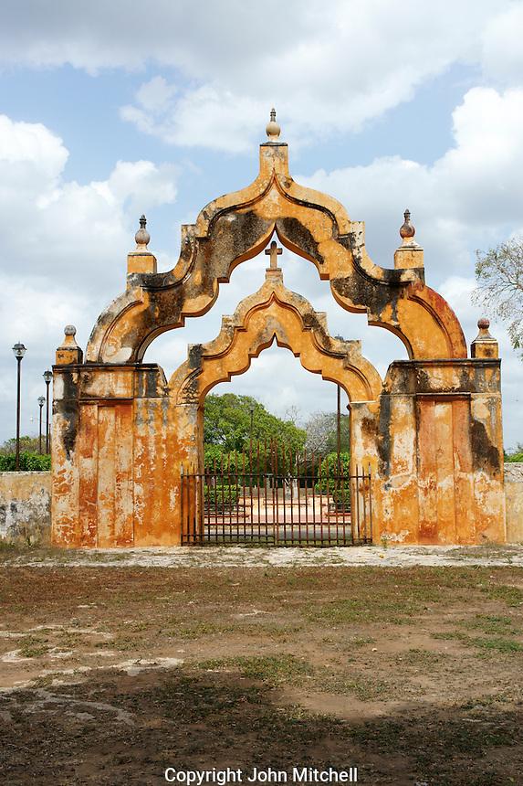 Moorish double arch gate at the entrance to Hacienda Yaxcopoil, Yucatan, Mexico