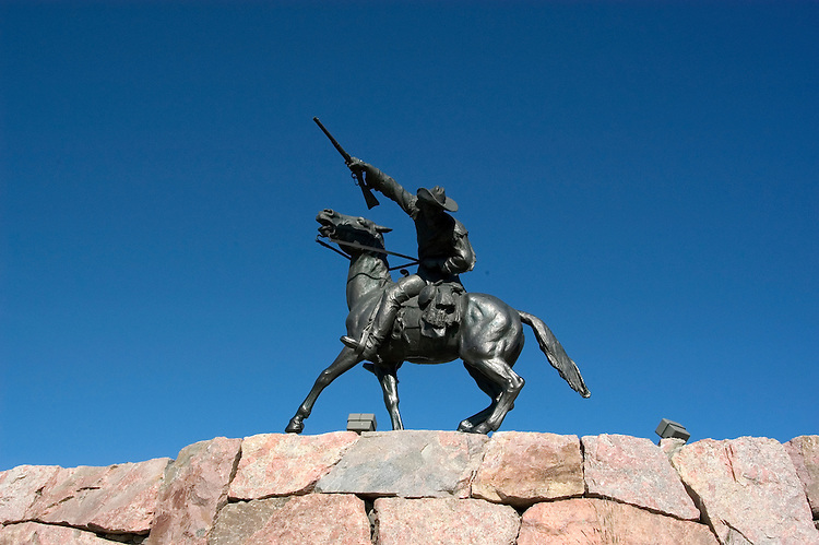 WY: Wyoming, Cody: Buffalo Bill sculpture by Gertrude Vanderbilt Whitney...Photo #: yellow539..Photo copyright Lee Foster, 510/549-2202, lee@fostertravel.com, www.fostertravel.com..