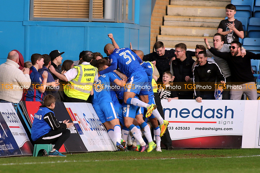 Gillingham players congratulate Josh Wright after scoring his third goal and penalty during Gillingham vs Scunthorpe United, Sky Bet EFL League 1 Football at the MEMS Priestfield Stadium on 11th March 2017