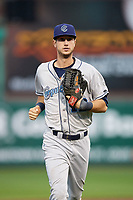 Corpus Christi Hooks right fielder Kyle Tucker (12) jogs to the dugout during a game against the Springfield Cardinals on May 31, 2017 at Hammons Field in Springfield, Missouri.  Springfield defeated Corpus Christi 5-4.  (Mike Janes/Four Seam Images)