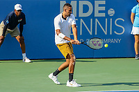 Washington, DC - August 4, 2019:  Nick Kyrgios (AUS) hits a backhand shot during the Citi Open ATP Singles final at William H.G. FitzGerald Tennis Center in Washington, DC  August 4, 2019.  (Photo by Elliott Brown/Media Images International)